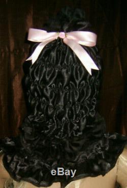 Prissy Sissy Maid Adult baby Black CD/TV Lockable Mincing Slave Hood & Padlock