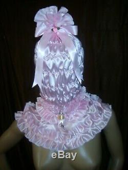 Prissy Sissy Maid Adult baby CD/TV Lockable Mincing Slave Hood & Padlock