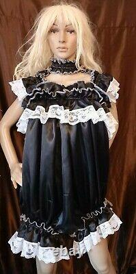 Prissy Sissy Maid CDTV Adult Baby Black & lace Lockable Teddy Playsuit & Padlock