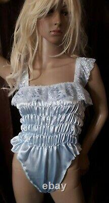 Prissy Sissy Maid CDTV Adult Baby Blue elasticated All in One Teddy Playsuit