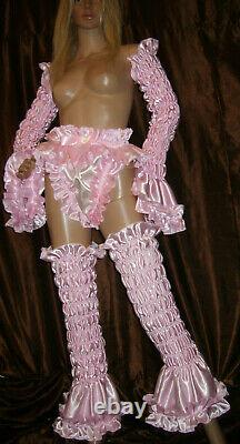 Prissy Sissy Maid CDTV Adult Baby Pink Faux Satin elasticated Arm & Leg Covers