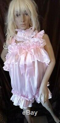Prissy Sissy Maid CDTV Adult Baby Pink Lockable Teddy Playsuit & Padlock