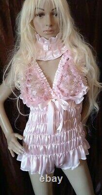 Prissy Sissy Maid CDTV Adult Baby Pink Lockable Teddy Romper Playsuit & Padlock