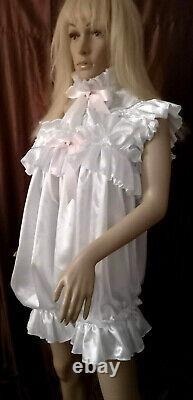 Prissy Sissy Maid CDTV Adult Baby White Lockable Teddy Romper Playsuit & Padlock