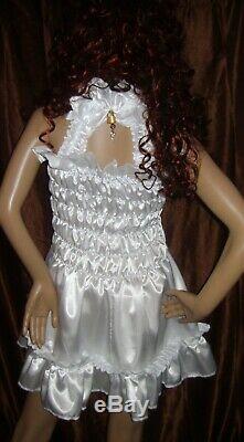 Prissy Sissy Maid CDTV Adult Baby White elasticated Lockable Dress & Padlock