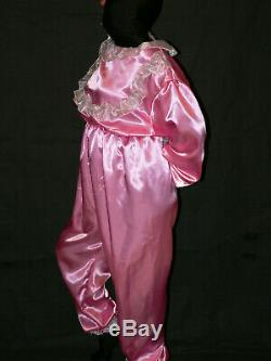 R33ADULT BABY Sissy Overall Satin onepice with frills