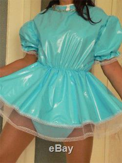 RA1Adult Baby Sissy Zofe pvc dress Süßes PVC Kleidchen mit Rüschen AB ABDL