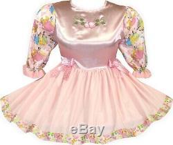 READY 2 WEAR Pink SATIN Princess Adult Baby Sissy Little Girl Dress LEANNE