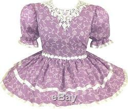 READY 2 WEAR Pretty Purple Flowers Adult Baby Sissy Little Girl Dress LEANNE