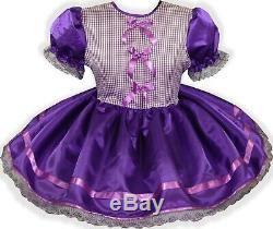READY 2 WEAR Purple SATIN Gingham Adult Baby Sissy Little Girl Dress LEANNE