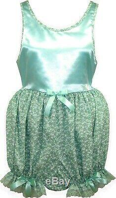 READY 2 WEAR Size Medium Mint SATIN Adult Baby Sissy ROMPER Dress LEANNE