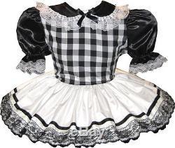Rachel Custom Fit BLACK & WHITE SATIN Adult LG Baby Sissy Dress LEANNE