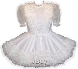 Ramona Custom Fit WHITE ORGANZA RUFFLES Adult LG Baby Sissy Dress LEANNE