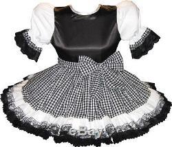 Rosalie Custom Fit Satin & Gingham Adult LG Baby Sissy Dress & Sash LEANNE