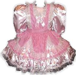 Roxanne Custom Fit Lacy Satin & Gingham Adult LG Baby Sissy Dress LEANNE