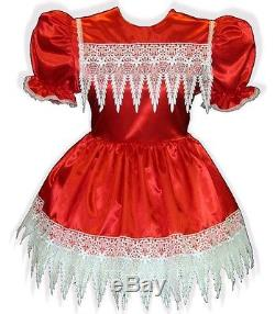 Ruby Custom Fit RED SATIN with BRIDAL LACE Adult LG Baby Sissy Dress LEANNE