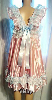 SALE All size £55 Adult Baby Sissy satin Frilly Short Dress Cross cosplay fancy