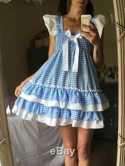 SALE All sizes £50 Adult Baby Sissy ABDL BLUE pink gingham frilly dress cosplay