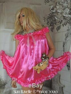SIAN RAVELLE UNIQUE Pink Satin Sissy Frilly Adult Baby Doll Dress Lined Knickers
