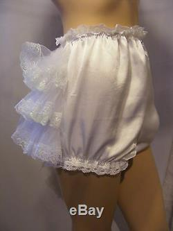 SISSY ADULT BABY WHITE SATIN DIAPER COVER PANTIES OPT WithPROOF / LOCKING ABDL