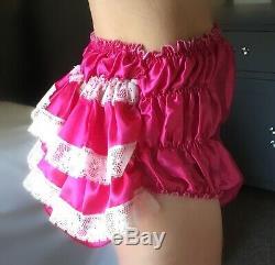 Sale ALL Sizes £95 ABDL Adult Baby Sissy Short Romper Dress Pink Satin Chiffon