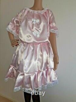 Satin Sissy Dress Adult Baby Maid Cosplay, cross-dresser x dress cross dressing