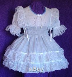 Schoolgirl Aqua Lacy Gingham Sissy Lolita Adult Baby Dress Aunt D