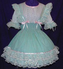 Schoolgirl Blue Lacy Gingham Sissy Lolita Adult Baby Dress Aunt D