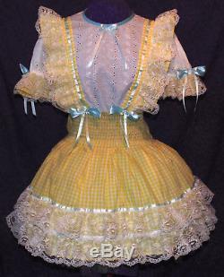 Schoolgirl Yellow Lacy Gingham Sissy Lolita Adult Baby Dress Aunt D