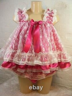 Set of sissy dress / matching panties ADULT baby satin ddlg babydoll negligee