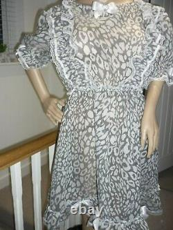 Sexy Sissy Sheer Leopard Frilly Chiffon Party Dress 49 Adult Baby CD Handmade