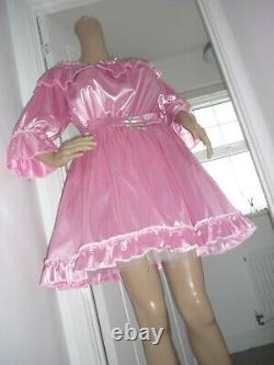 Sexy Sissy Slippy Shimmering Pink Off Shoulder Mini Dress Adult Baby Cdtv 20/22