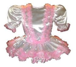 Sharon Custom Fit WHITE SATIN PINK RUFFLES Adult LG Baby Sissy Dress LEANNE