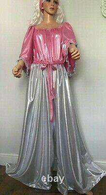 Shimmering Long Pink & Silver Jumpsuit, Sissy, CD, TV, Adult Baby Cosplay, Unisex