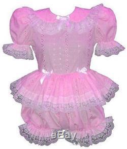 Shirlynne Custom Fit PINK Satin or Eyelet Adult BABY LG Sissy Romper LEANNE
