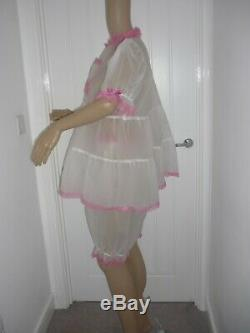 Short Sissy Adult Baby Plastic Frilly Dress & Bloomer Panties Cosplay Ab CD
