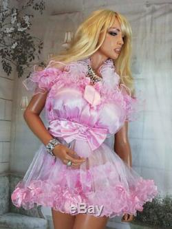Sian Ravelle LUXURY PINK SHEER WHITE SISSY FRILLY ADULT BABY DOLL NIGHT DRESS