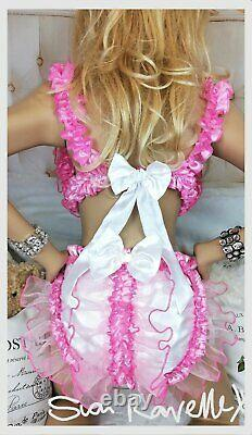 Sian Ravelle LUXURY PINK WHITE SATIN SISSY FRILLY FAIRY ADULT BABY SEXY KNICKERS