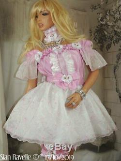 Sian Ravelle LUXURY Pink White Sissy Adult Baby Doll Dress Garters & Choker Set