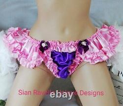 Sian Ravelle LUXURY Purple Pink Satin Sissy Maid Adult Baby Dress Knickers Set