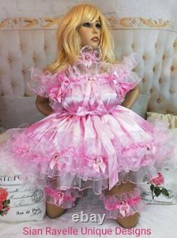Sian Ravelle Luxury Pink Satin Organza Frilly Tv Adult Baby Doll Sissy Dress Set