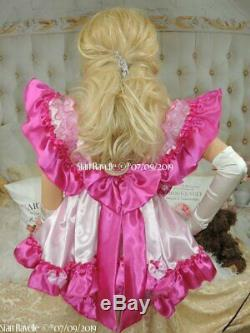 Sian Ravelle SALE PINK WHITE SATIN FRILLY SISSY ADULT BABY DOLL NIGHT PLAY DRESS