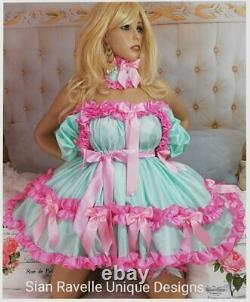 Sian Ravelle Sexy Mint Pink Silk Adult Baby Doll Sissy Maid Dress Knickers 6 Set