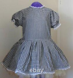 Simple Black Gingham Sissy Lolita Adult Baby Aunt D
