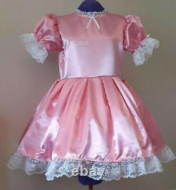 Simple Black Satin Sissy Lolita Adult Baby Dress Custom Aunt D