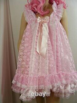 Sissy ADULT baby dress satin ddlg babydoll negligee nightie fancydress cosplay