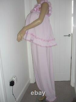 Sissy Adult Baby Frilly Lounge Cami Top & Long Pants Sleep Set Made To Measure