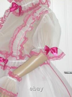 Sissy Adult Baby Party Plastic Frilly Dress & Panties Neck Cuff Set CD Play