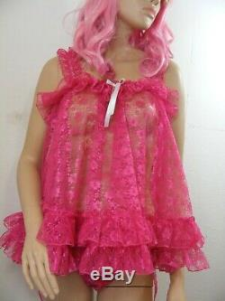 Sissy DDLG dress ADULT baby pink lace babydoll negligee nighty fancydress unisex