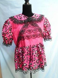Sissy Pink & Black Short Adult Baby Little Girl Dress with Lots of Black Lace